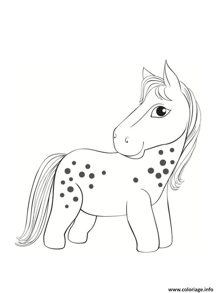 Dessin poney avec taches noirs Coloriage Gratuit à Imprimer