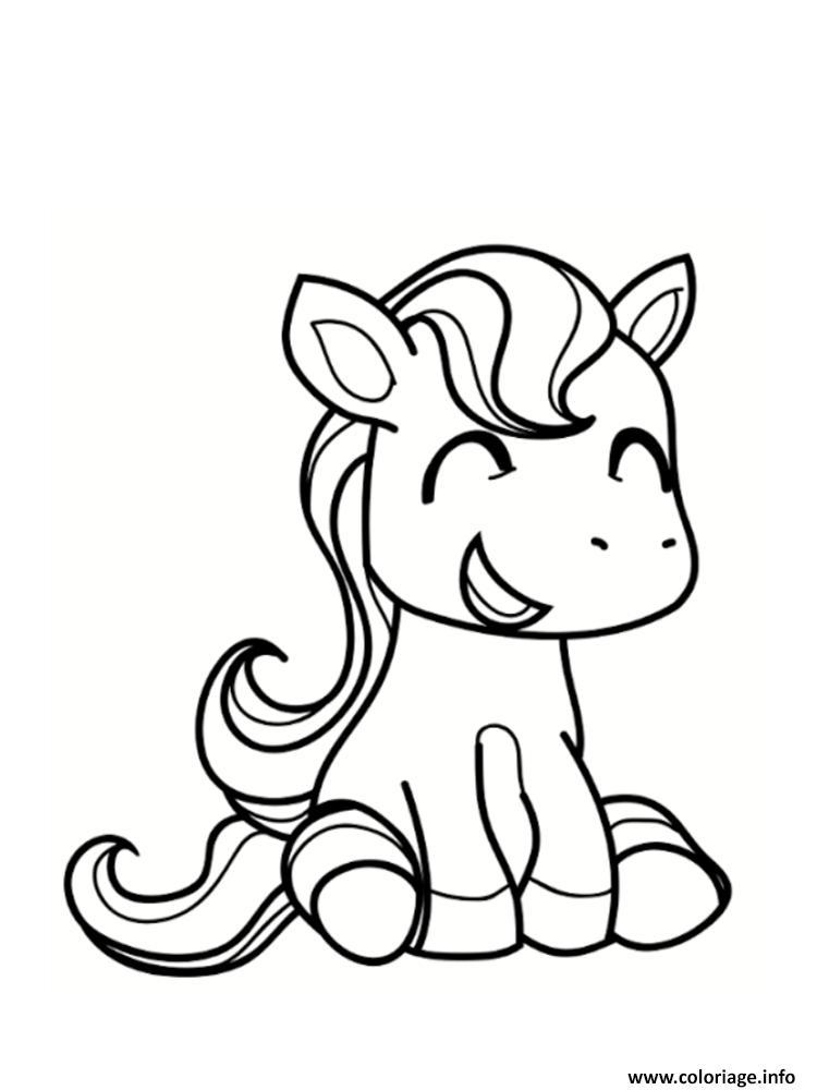 Coloriage Poney Souriant Et Cute Jecolorie Com