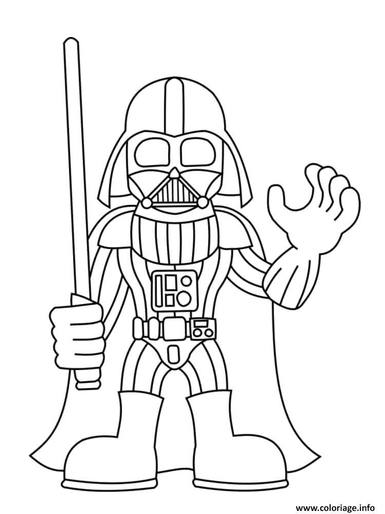 Dessin Darth Vader avec sabre Coloriage Gratuit à Imprimer