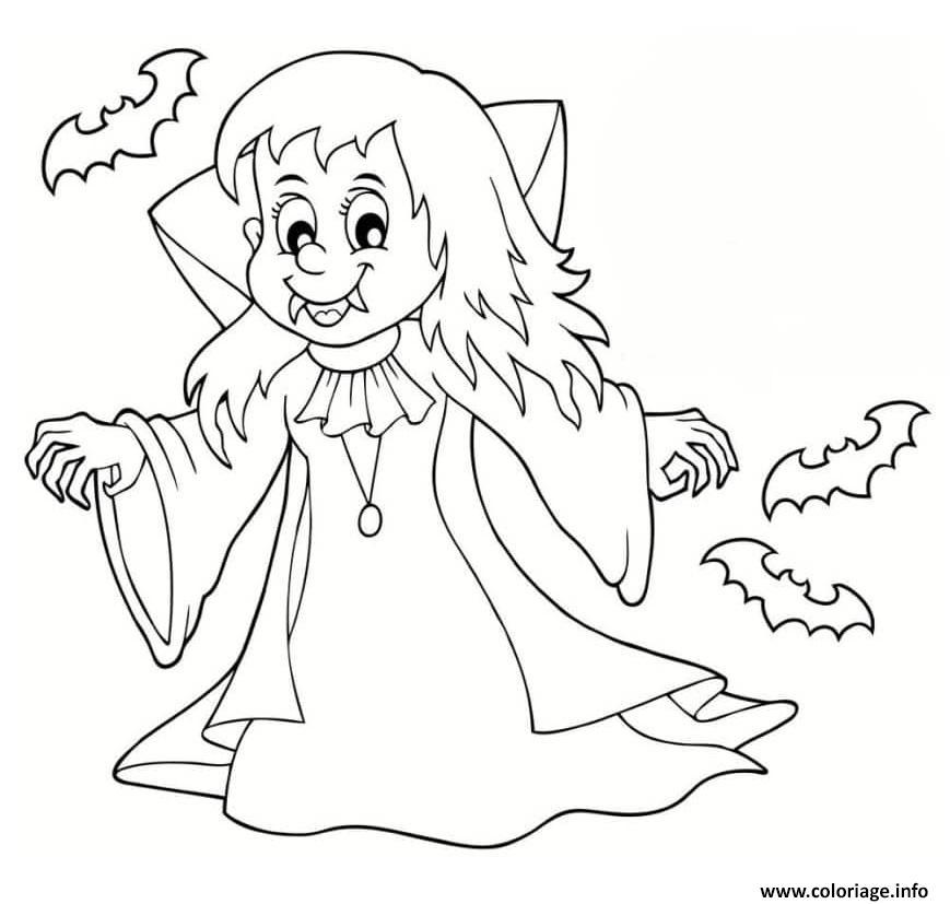Coloriage Fille Vampire Halloween Jecoloriecom