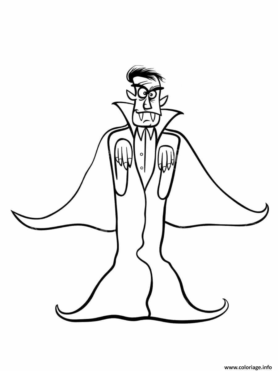 Dessin mechant vampire pret a sauter Coloriage Gratuit à Imprimer