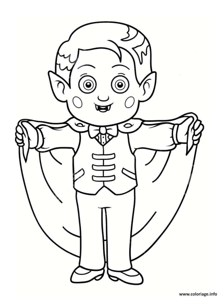 Dessin enfant deguise en vampire Coloriage Gratuit à Imprimer