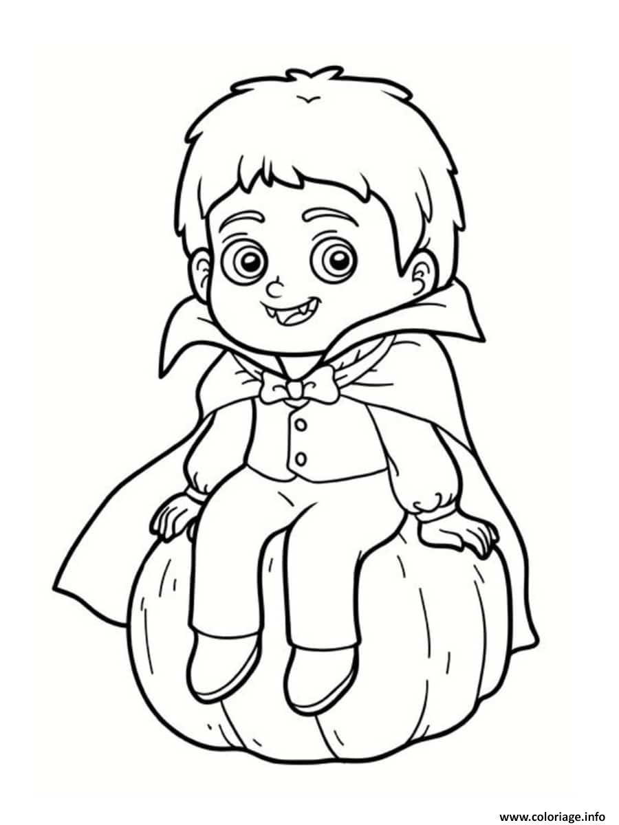 Dessin enfant vampire sur une citrouille halloween Coloriage Gratuit à Imprimer