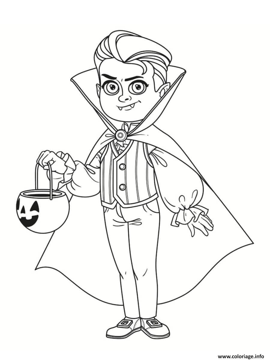 Dessin garcon en vampire pour halloween avec citrouille Coloriage Gratuit à Imprimer