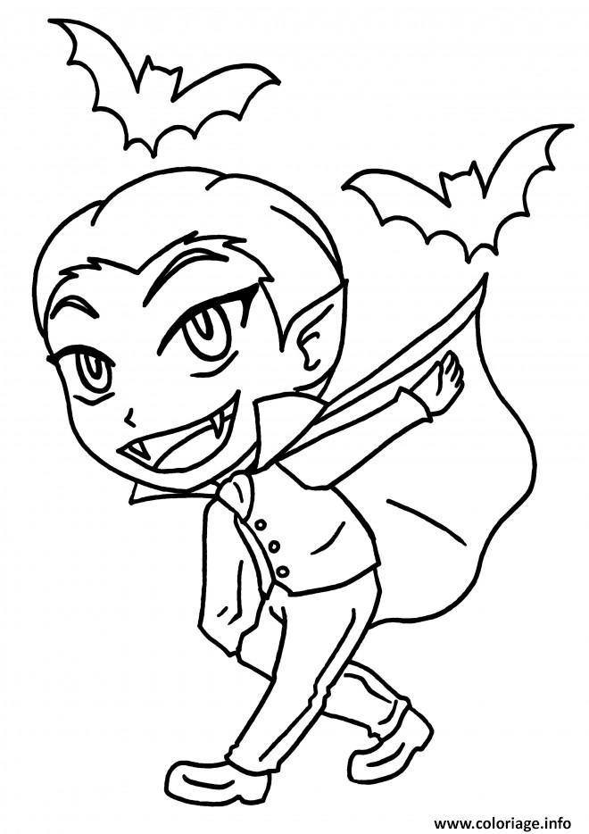 Dessin vampire garcon joyeux Coloriage Gratuit à Imprimer