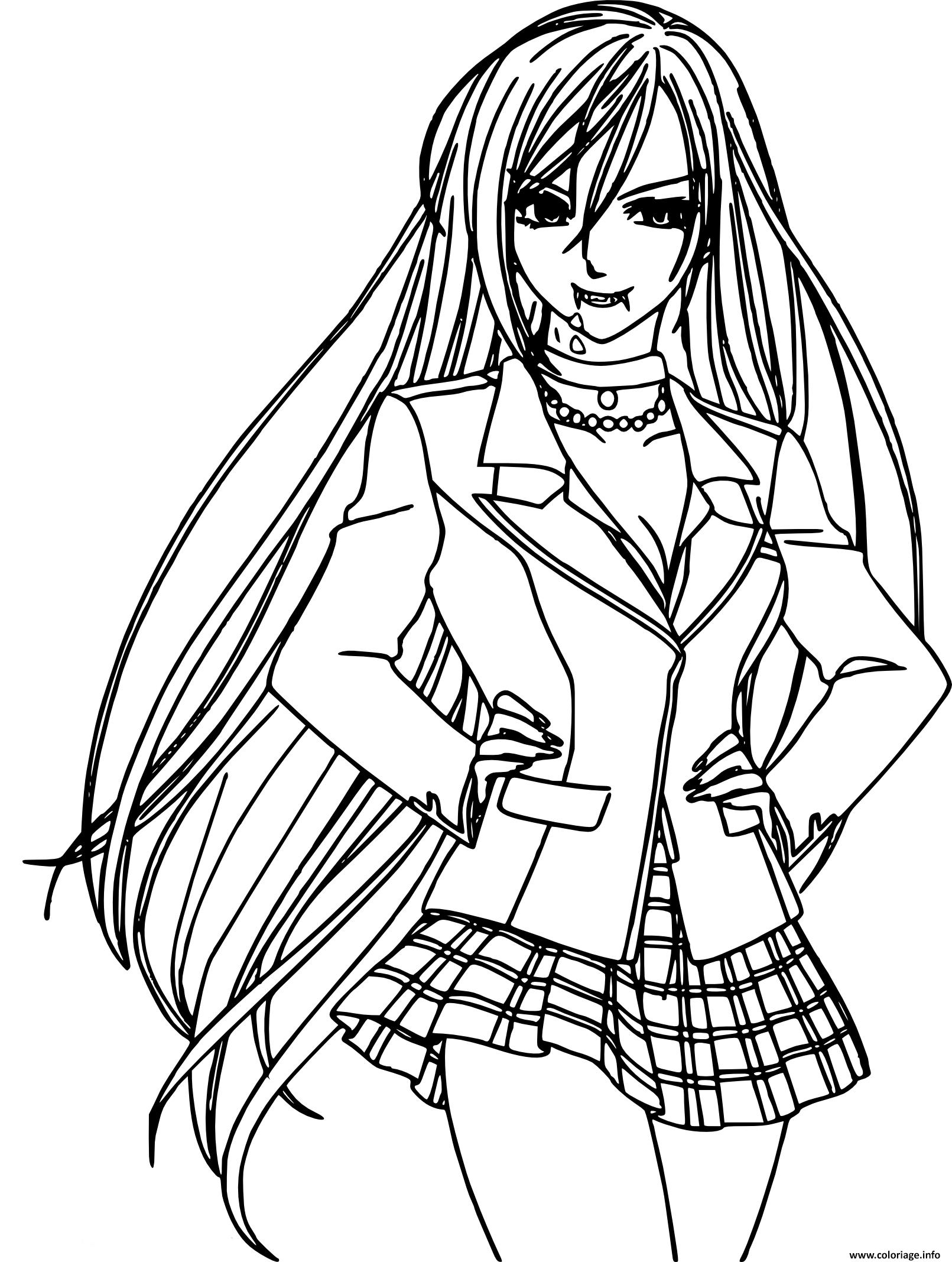 Coloriage Fille Vampire Manga Dessin Vampire à imprimer