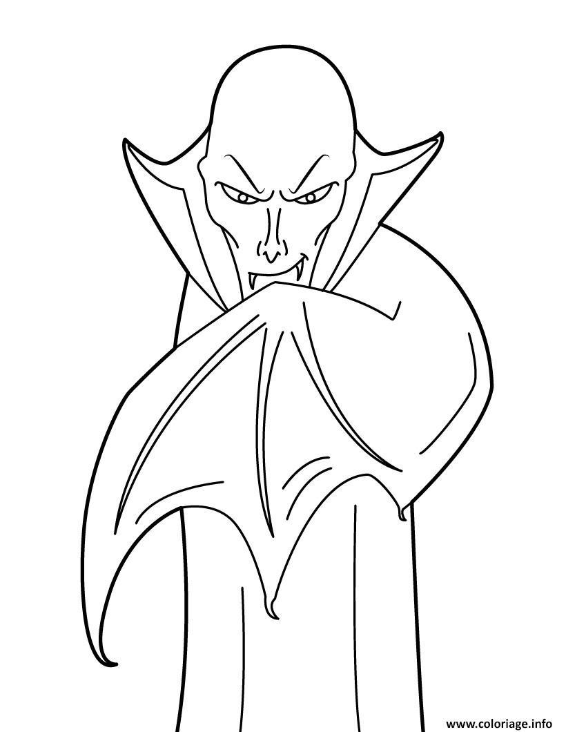 Dessin vampire avec la tete chauve Coloriage Gratuit à Imprimer