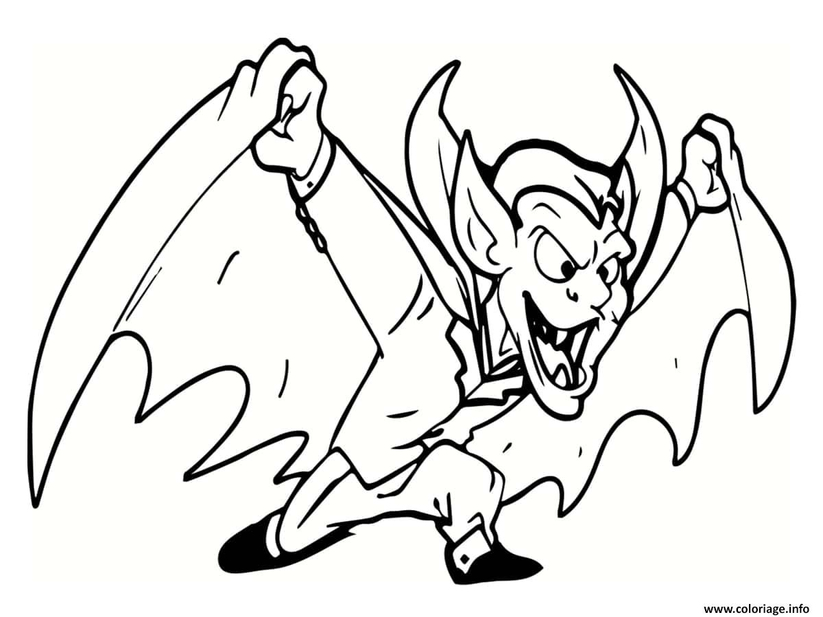 Dessin diable et vampire Coloriage Gratuit à Imprimer
