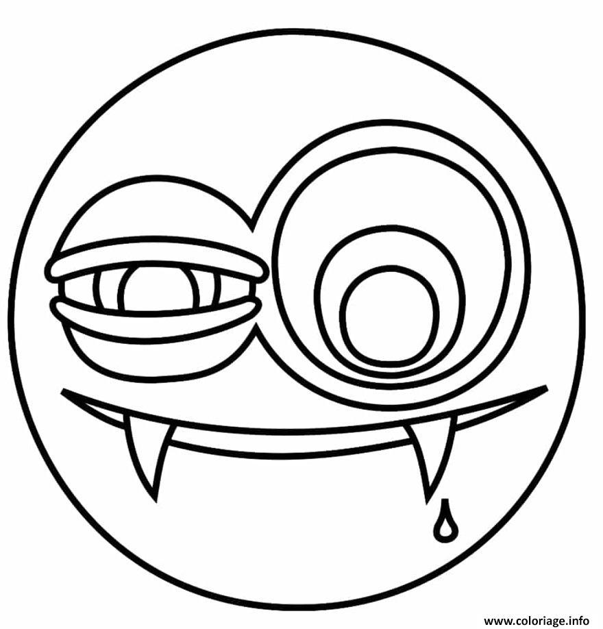 Dessin emoji vampire Coloriage Gratuit à Imprimer