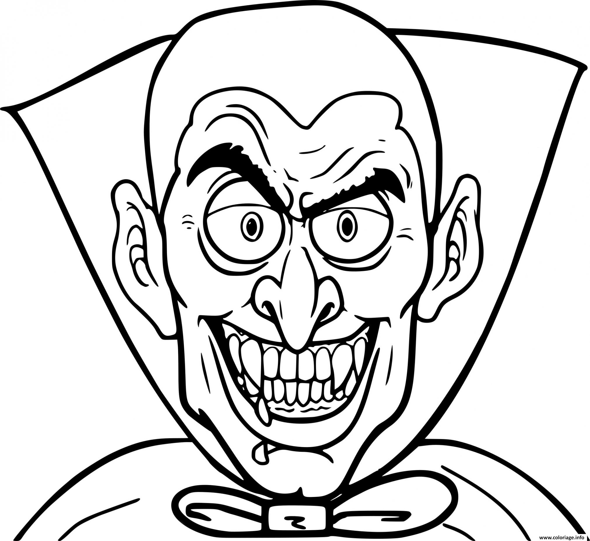 Coloriage Halloween Vampire Qui Fait Peur Dessin
