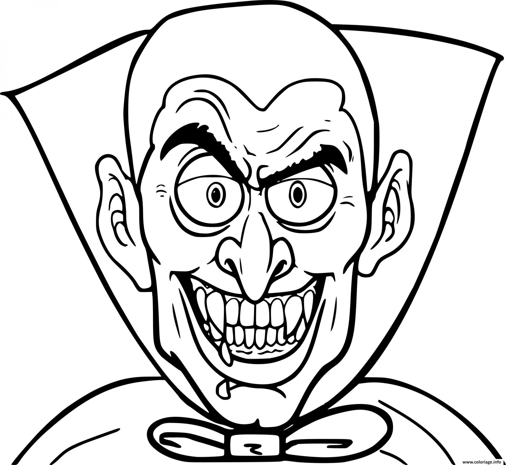Dessin halloween vampire qui fait peur Coloriage Gratuit à Imprimer