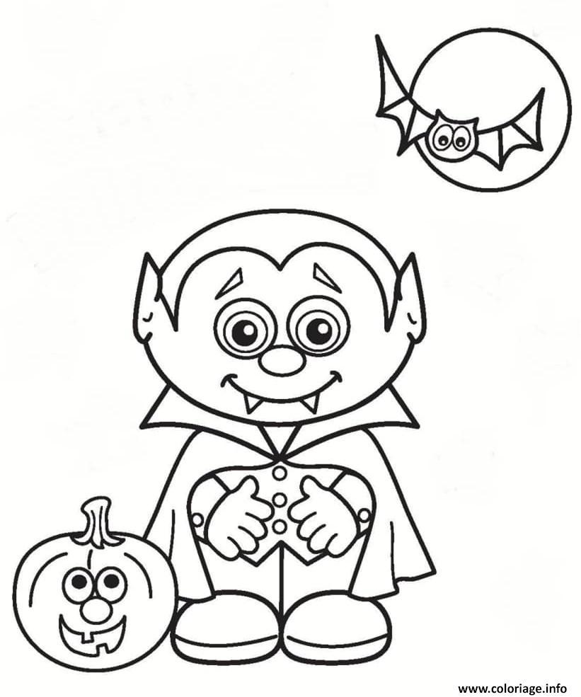 Coloriage Vampire Halloween Citrouille Lune Dessin