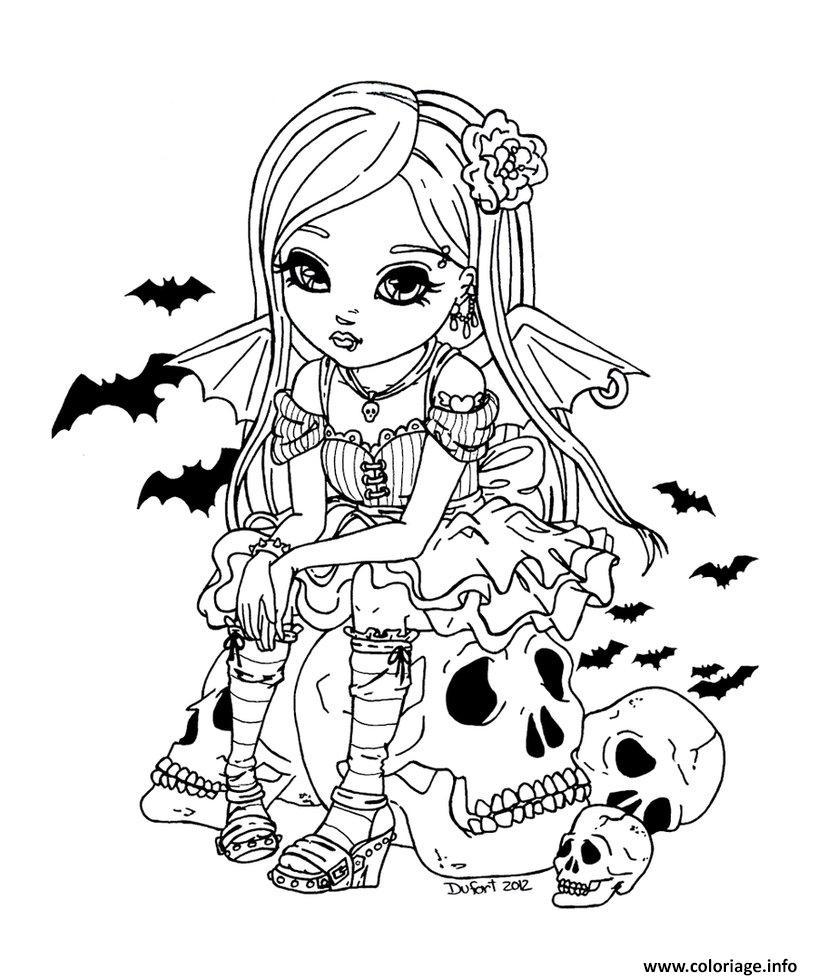Coloriage Fille Vampire Barbie Poupee Jecolorie Com