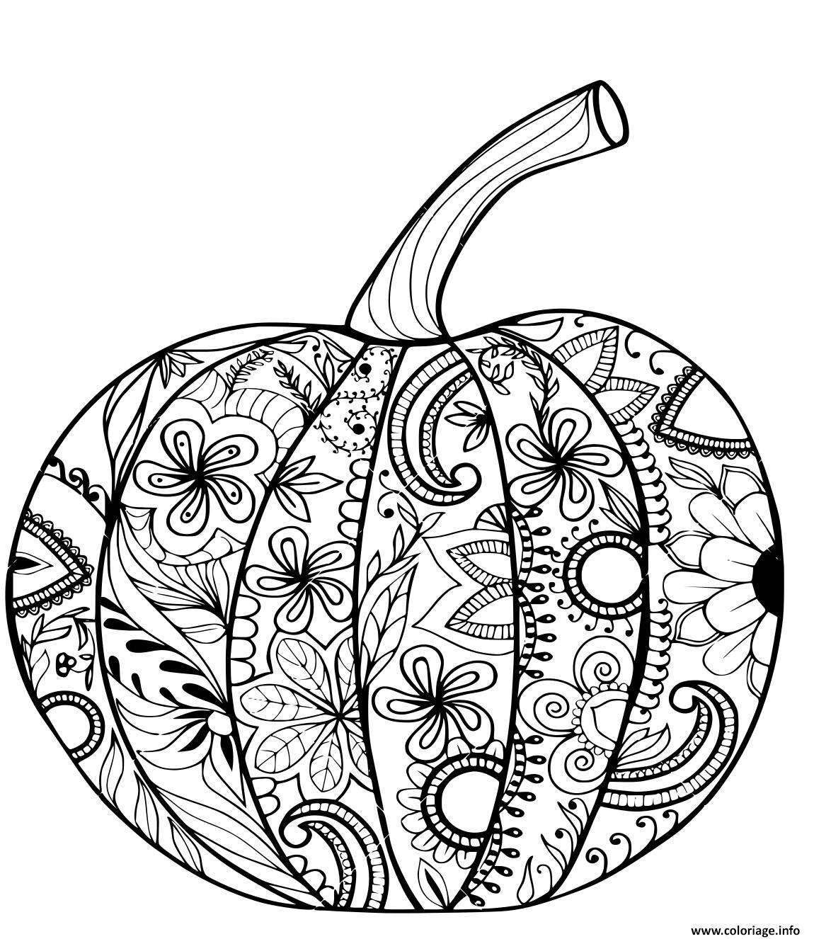 Coloriage Citrouille Halloween Pour Action De Grace Adulte Antistress Dessin Halloween ...