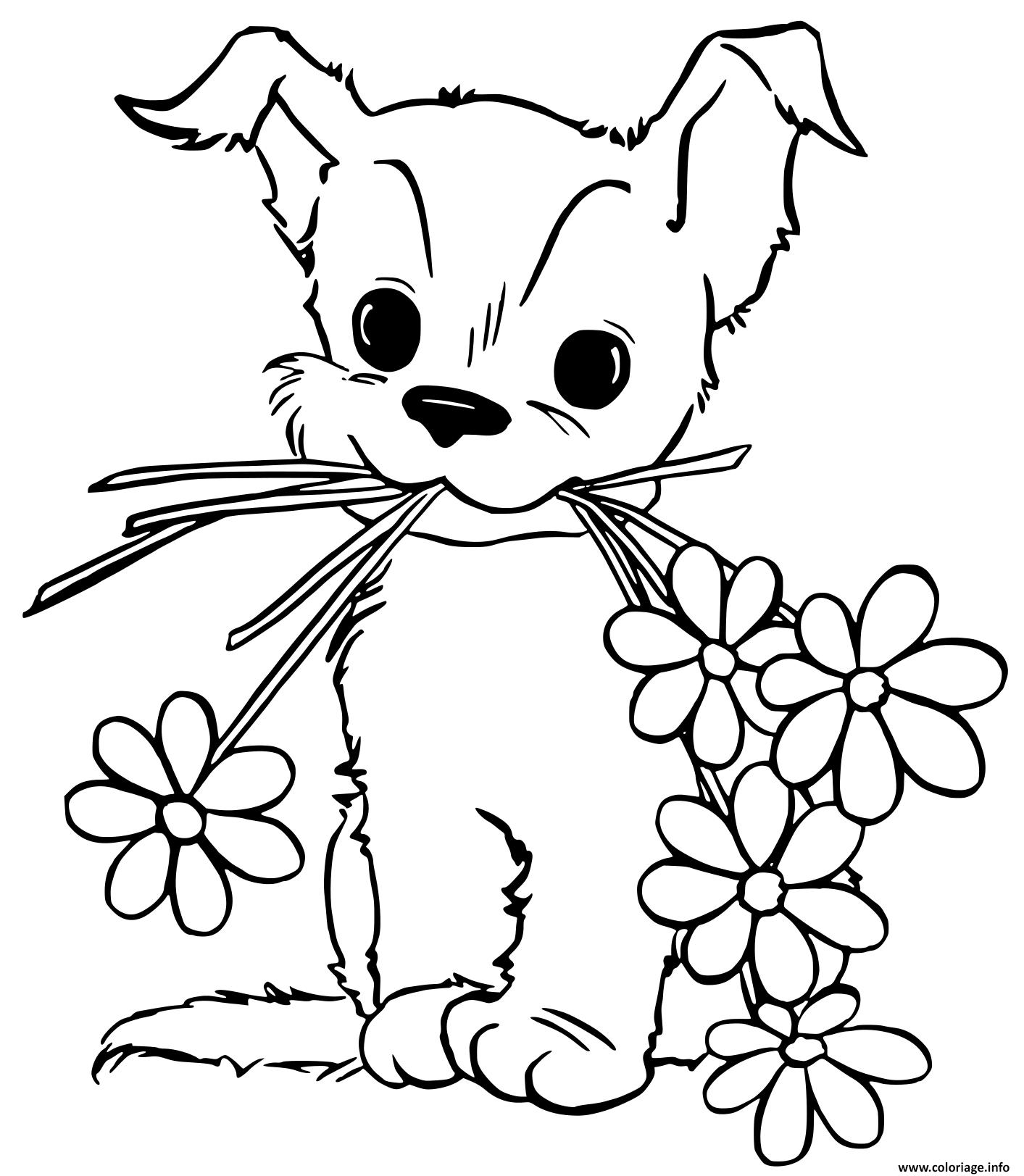 Coloriage Jeune Chien Chiot Avec Des Fleurs Dessin Chien A Imprimer
