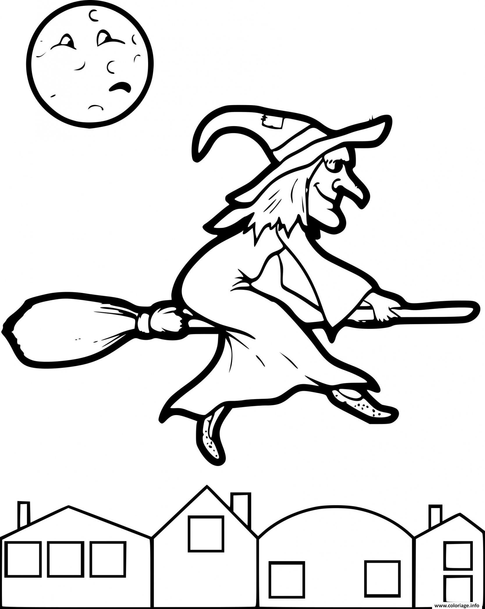 Coloriage sorciere avec balai dans le ciel   JeColorie.com