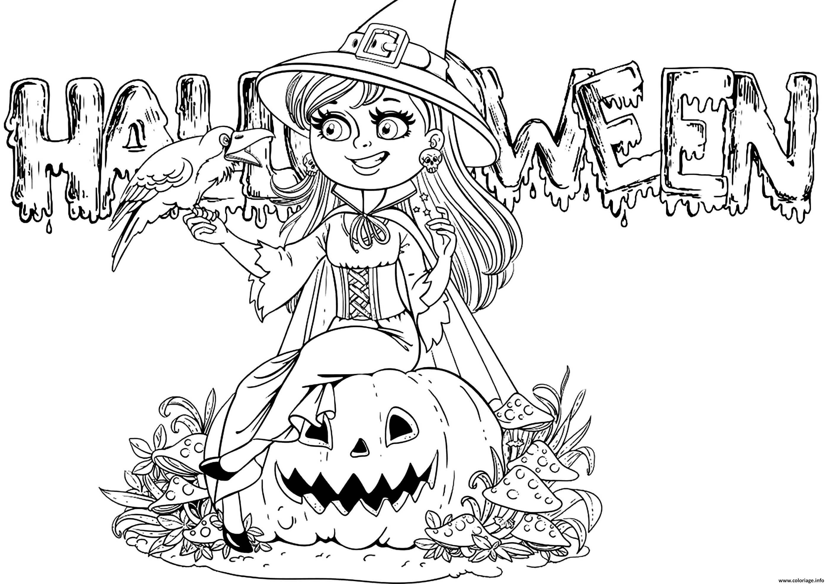 Coloriage sorciere texte halloween   JeColorie.com