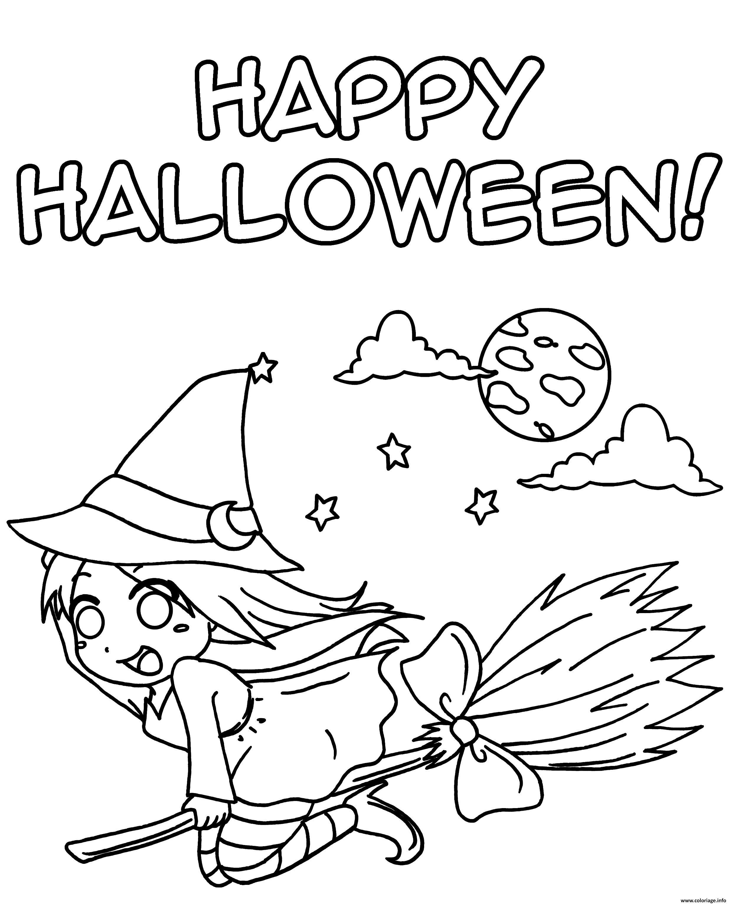Coloriage Sorciere Manga Happy Halloween Dessin Halloween ...