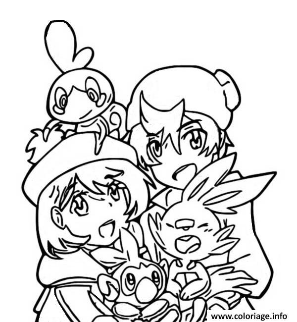 Coloriage Pokemon Epee Et Bouclier Larmeleon Flambino Et Ouistempo