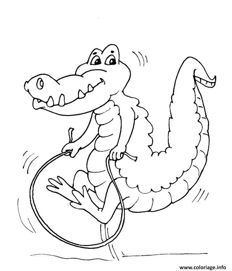 Dessin Crocodile saut de corde Coloriage Gratuit à Imprimer