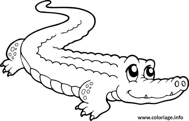 Dessin crocodile mignon Coloriage Gratuit à Imprimer