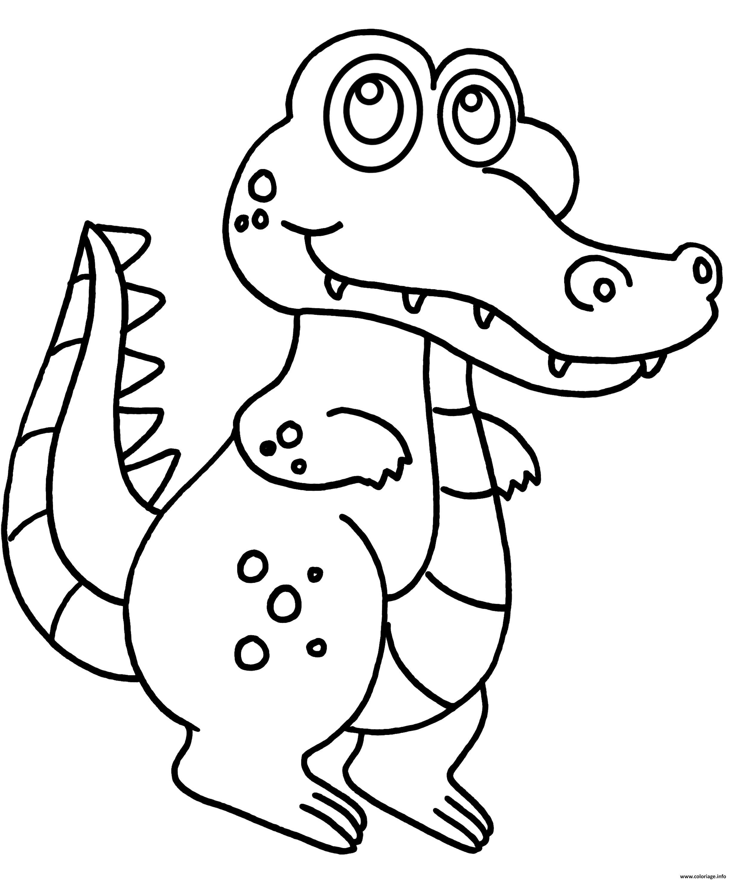 Dessin bebe crocodile marrant Coloriage Gratuit à Imprimer