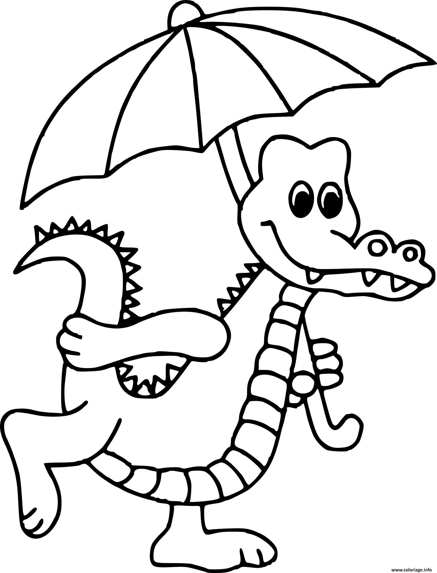 Dessin crocodile avec un parapluie Coloriage Gratuit à Imprimer