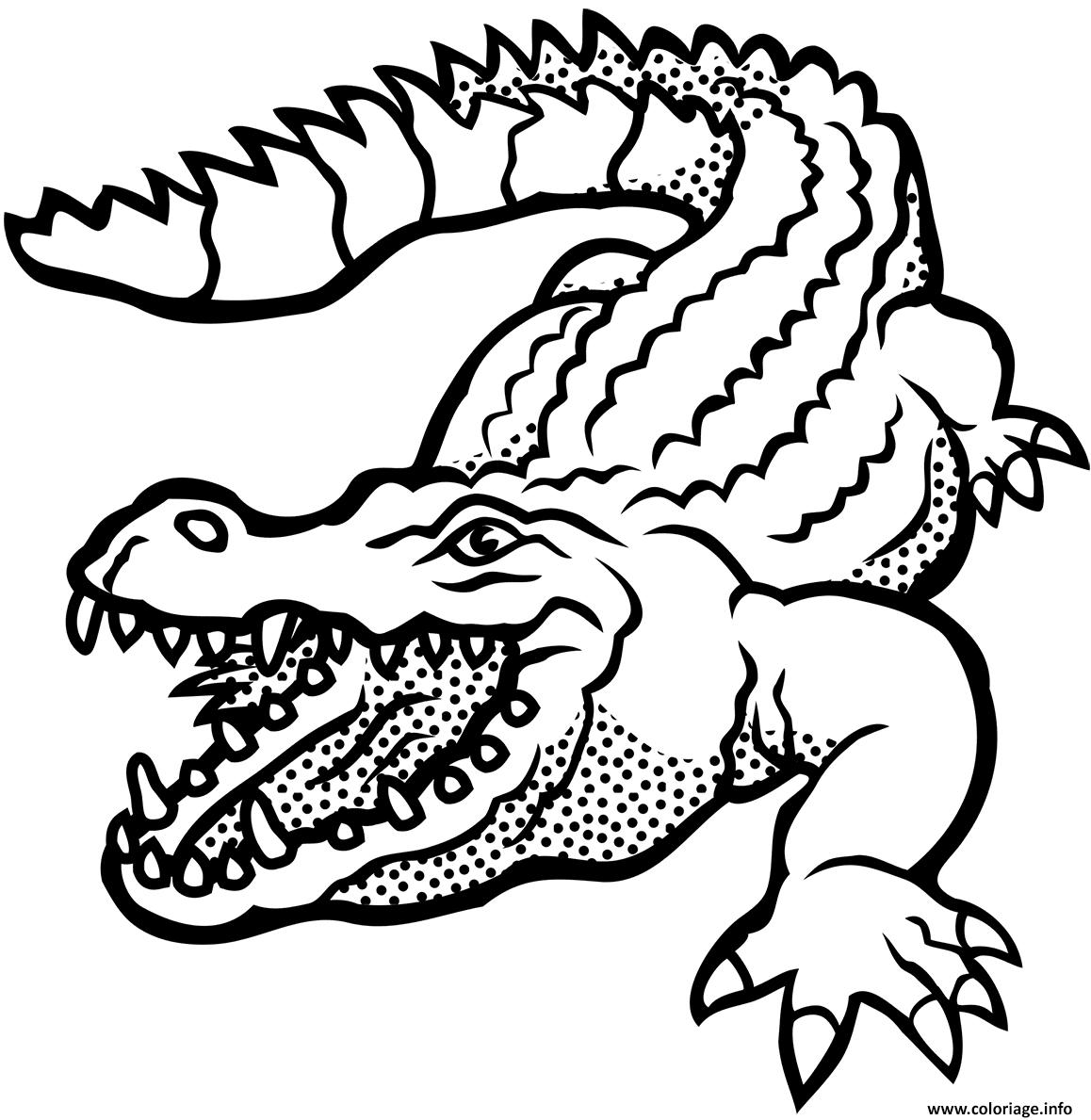 Dessin crocodile americain vitesse 29 kmh Coloriage Gratuit à Imprimer
