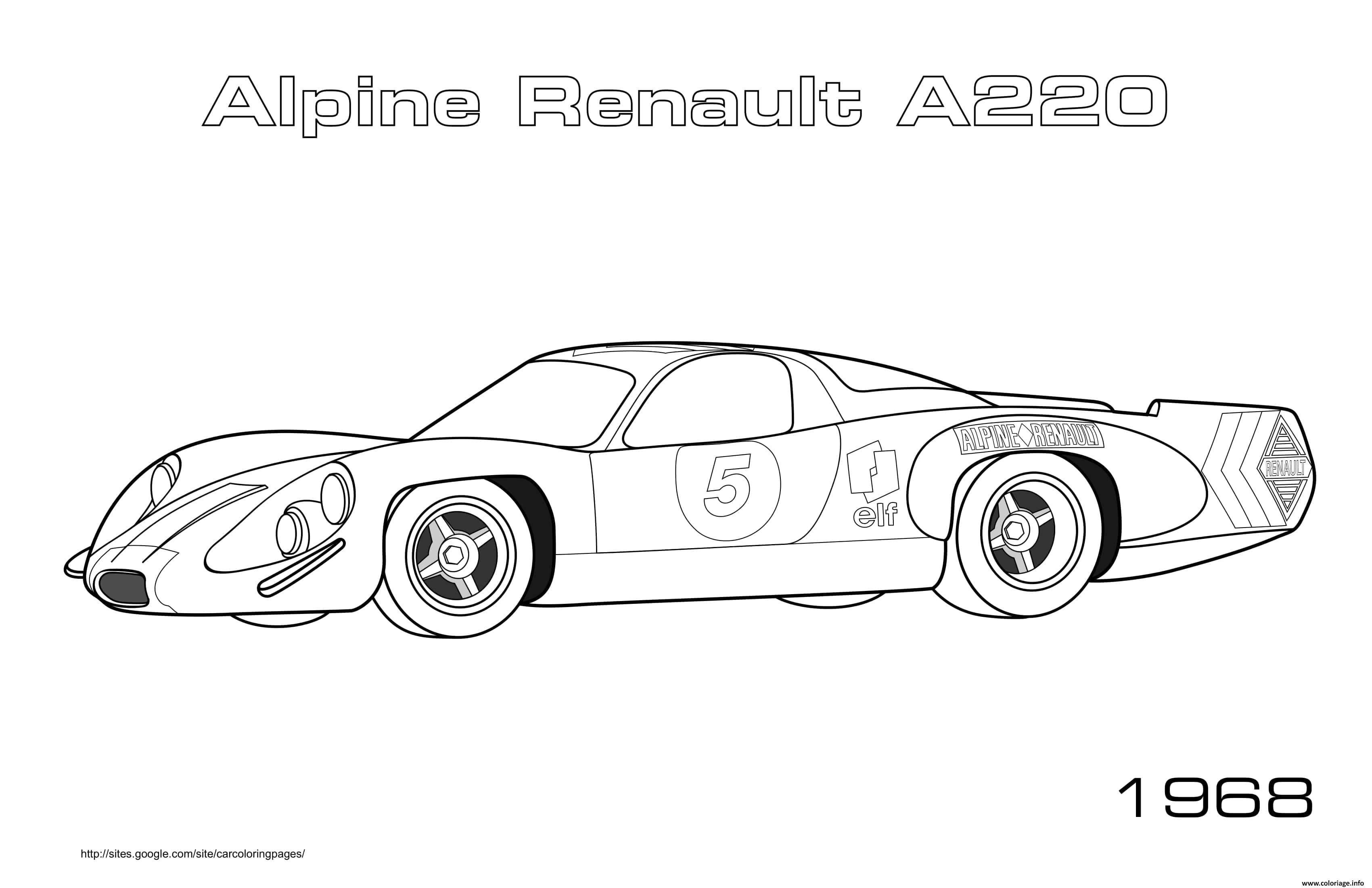 Dessin Alpine Renault A220 1968 Coloriage Gratuit à Imprimer