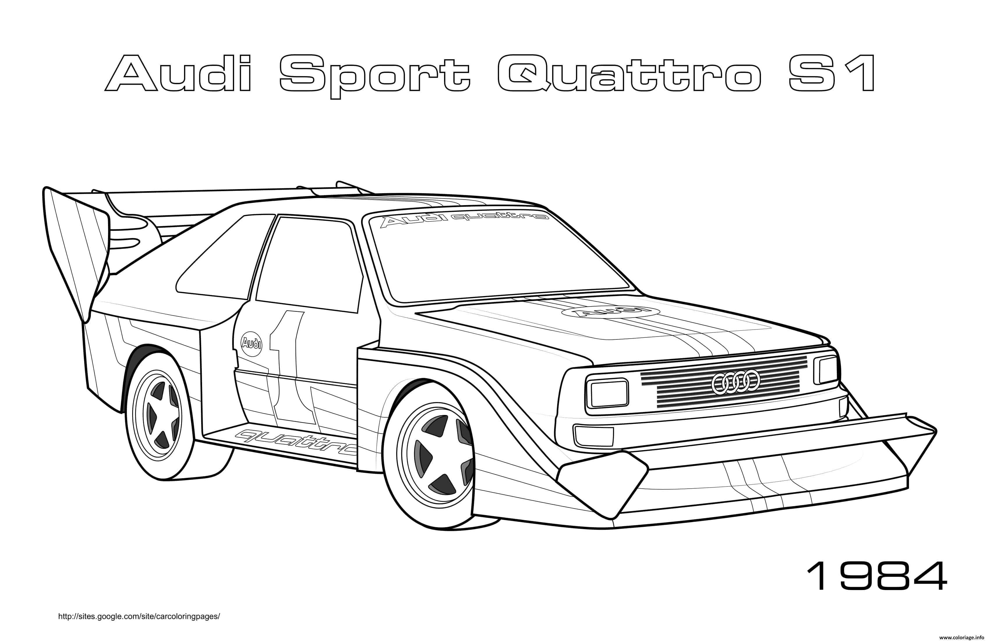 Dessin Audi Sport Quattro S1 1984 Coloriage Gratuit à Imprimer