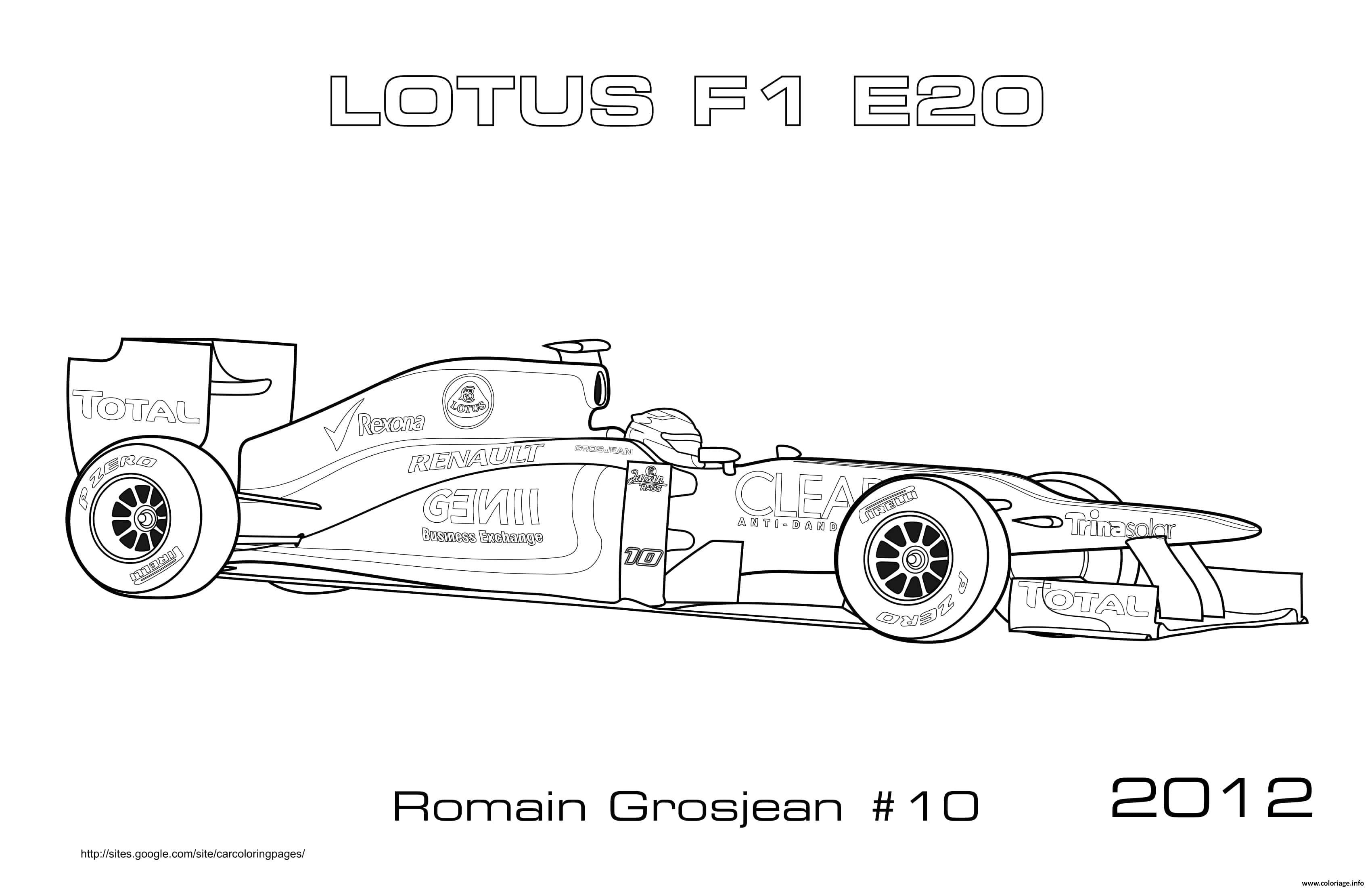 Dessin F1 Lotus E20 Romain Grosjean 2012 Coloriage Gratuit à Imprimer