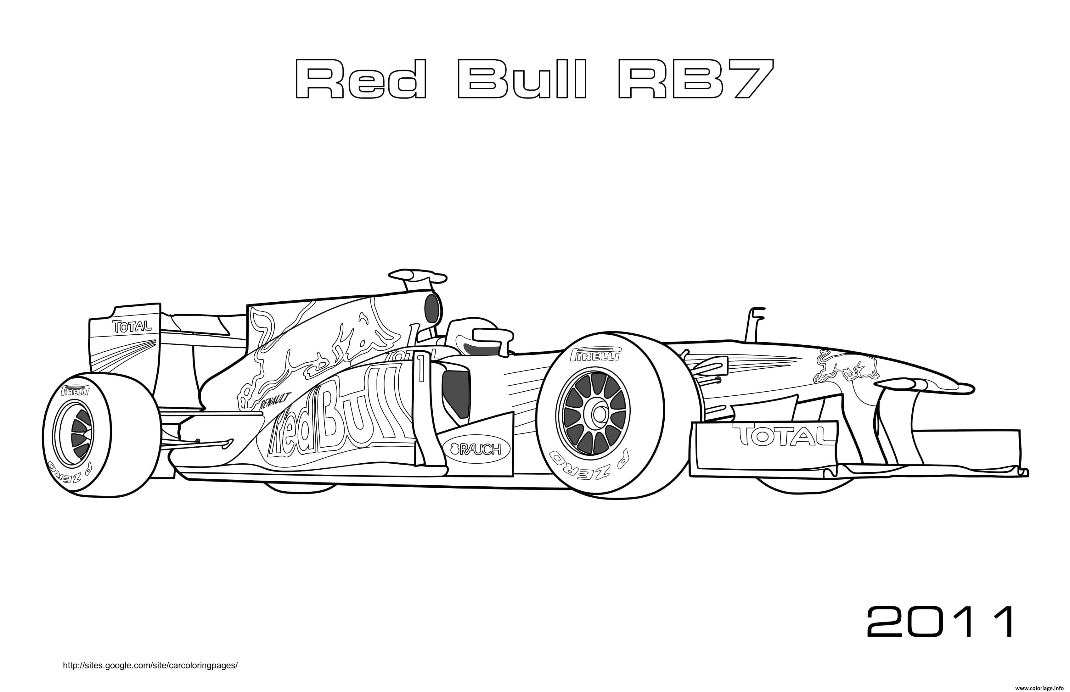 Coloriage F1 Red Bull Rb7 2011 Dessin Voiture A Imprimer