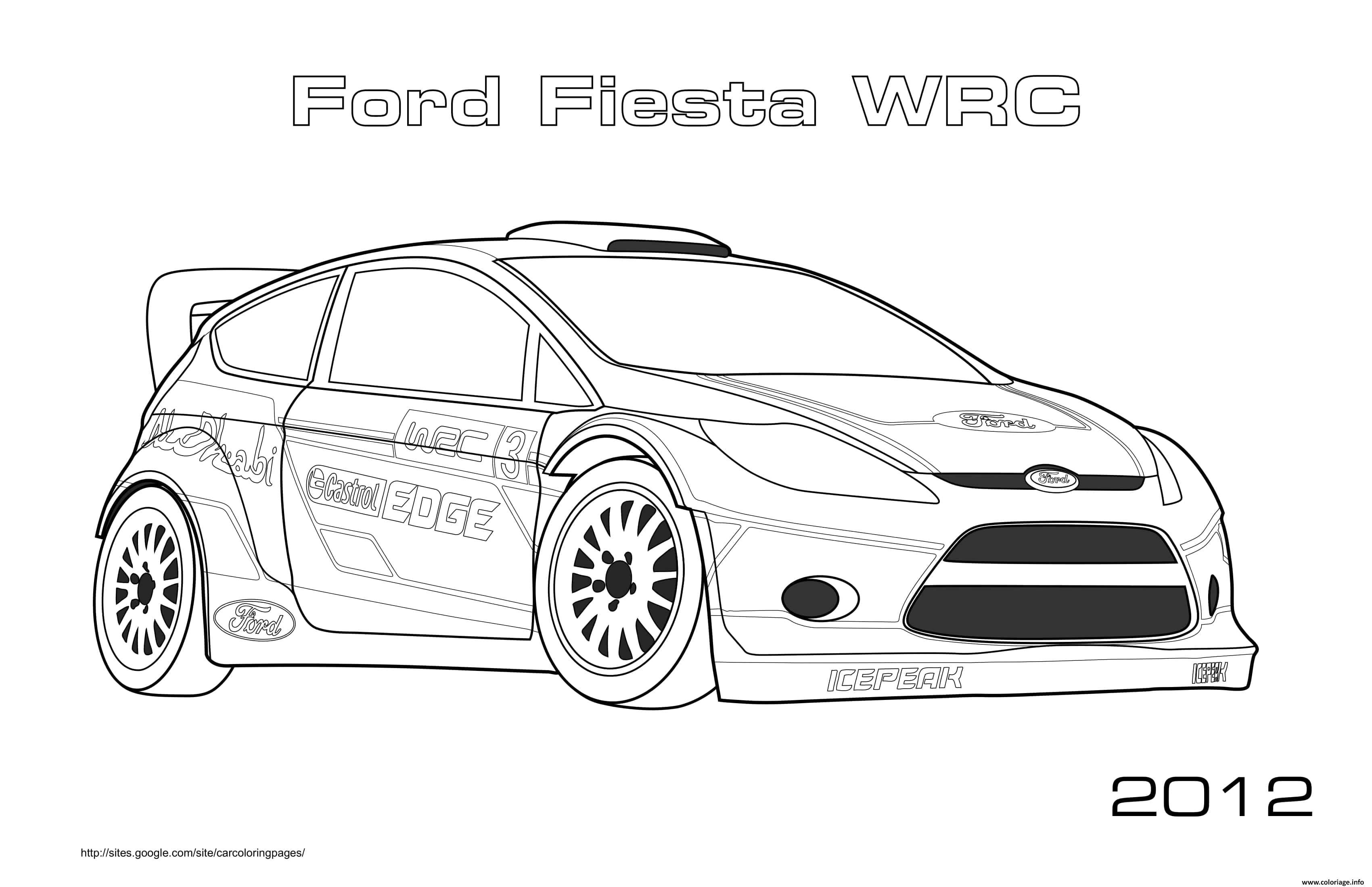 Dessin Ford Fiesta Wrc 2012 Coloriage Gratuit à Imprimer