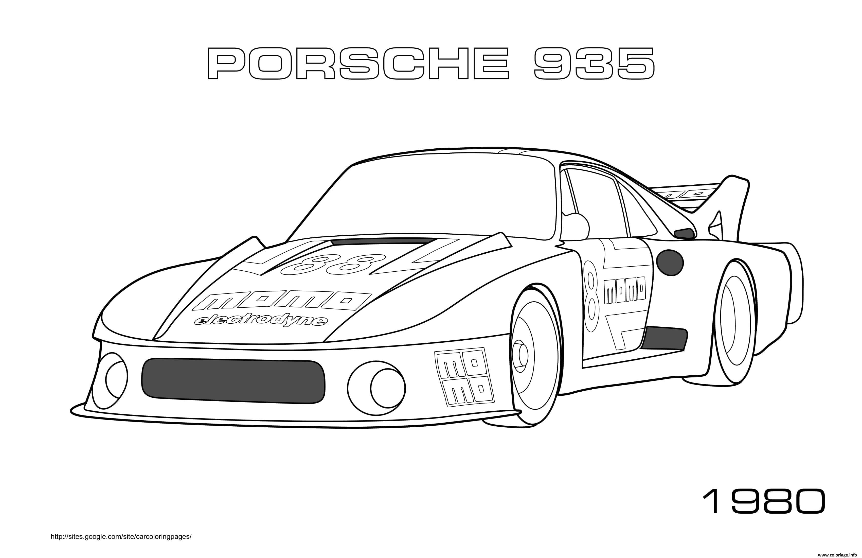 Dessin Porsche 935 1980 Coloriage Gratuit à Imprimer
