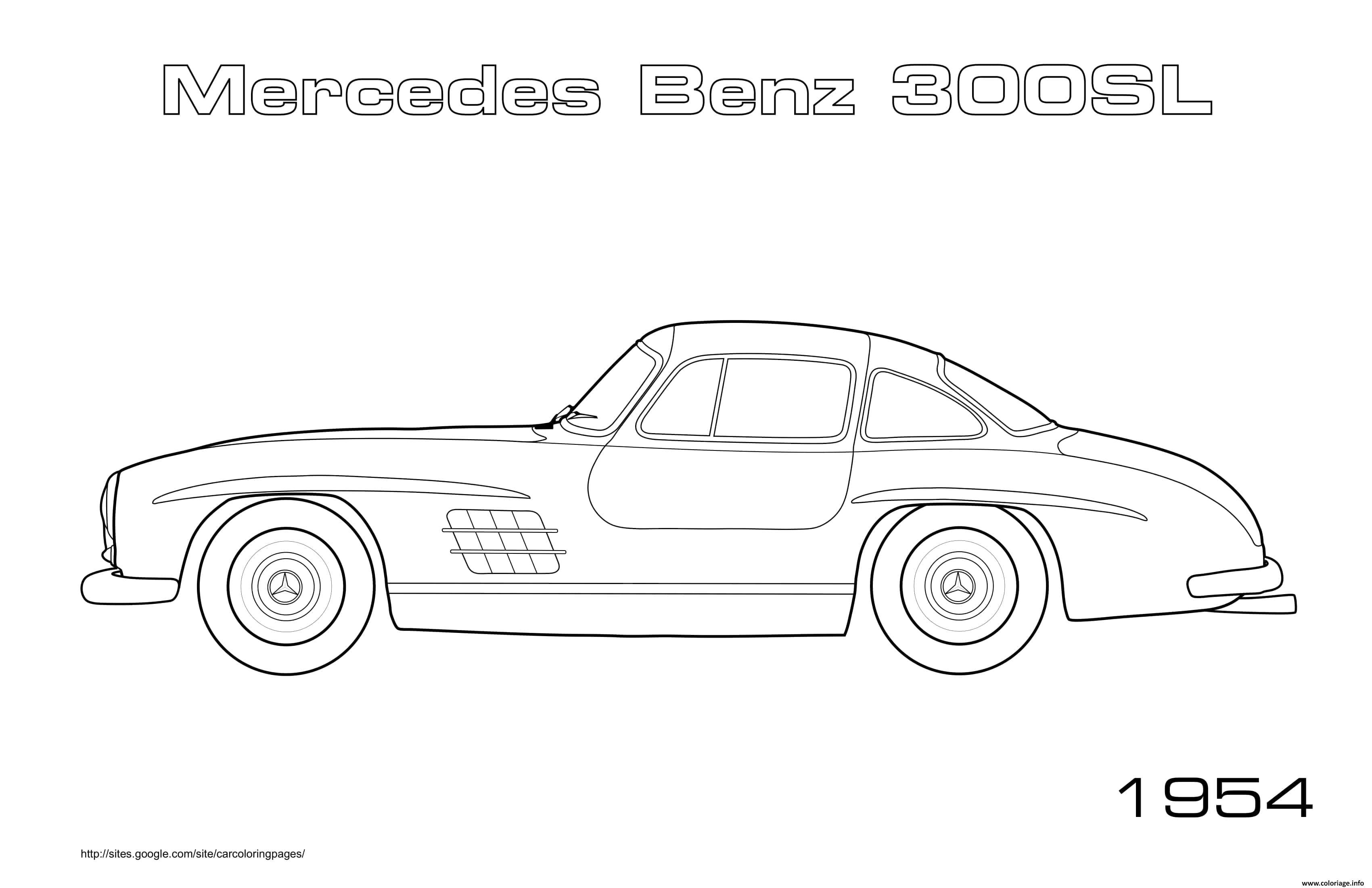 Dessin Old Car Mercedes Benz 300sl 1954 Coloriage Gratuit à Imprimer