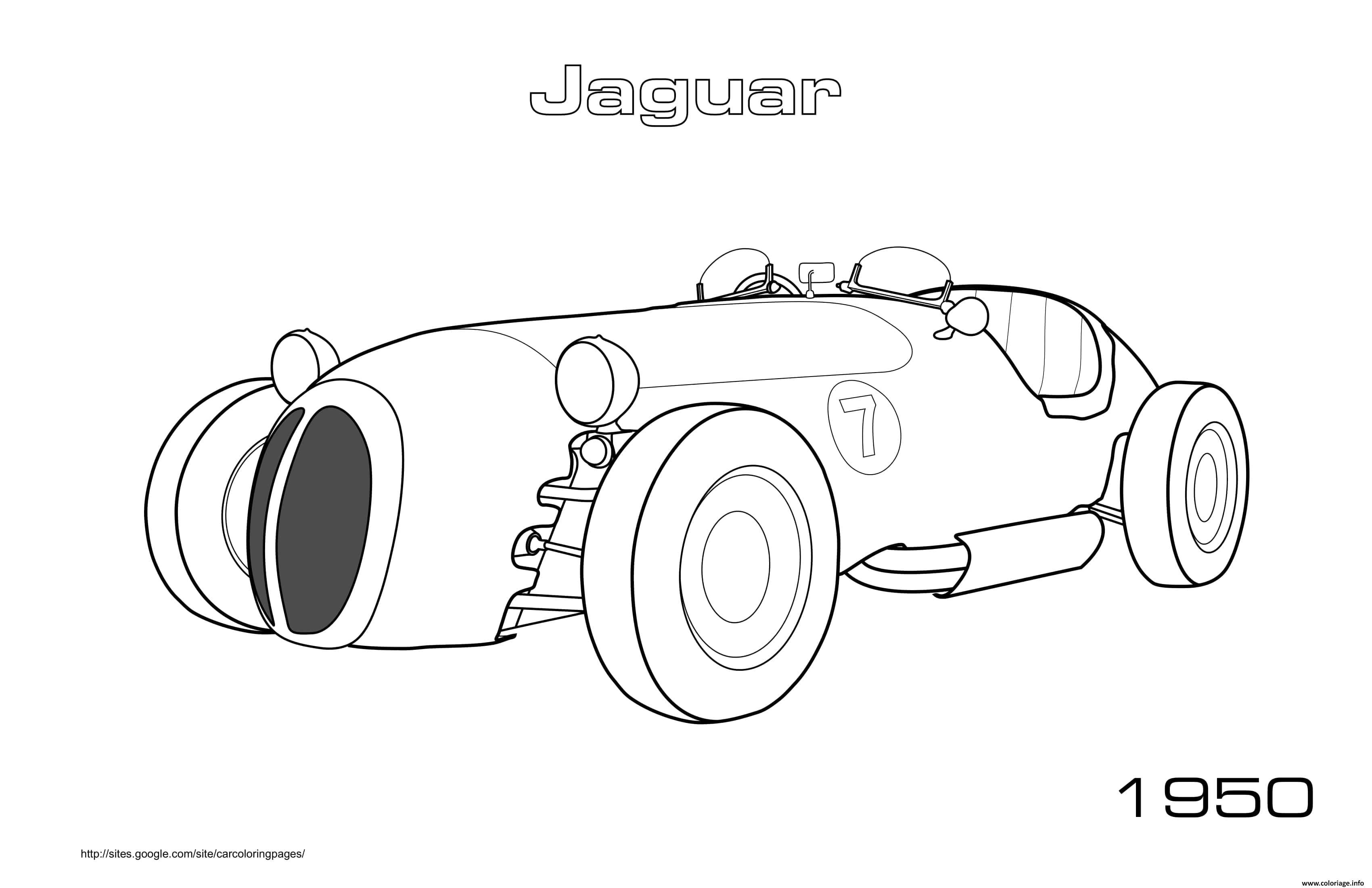 Dessin Old Car Jaguar 1950 Coloriage Gratuit à Imprimer