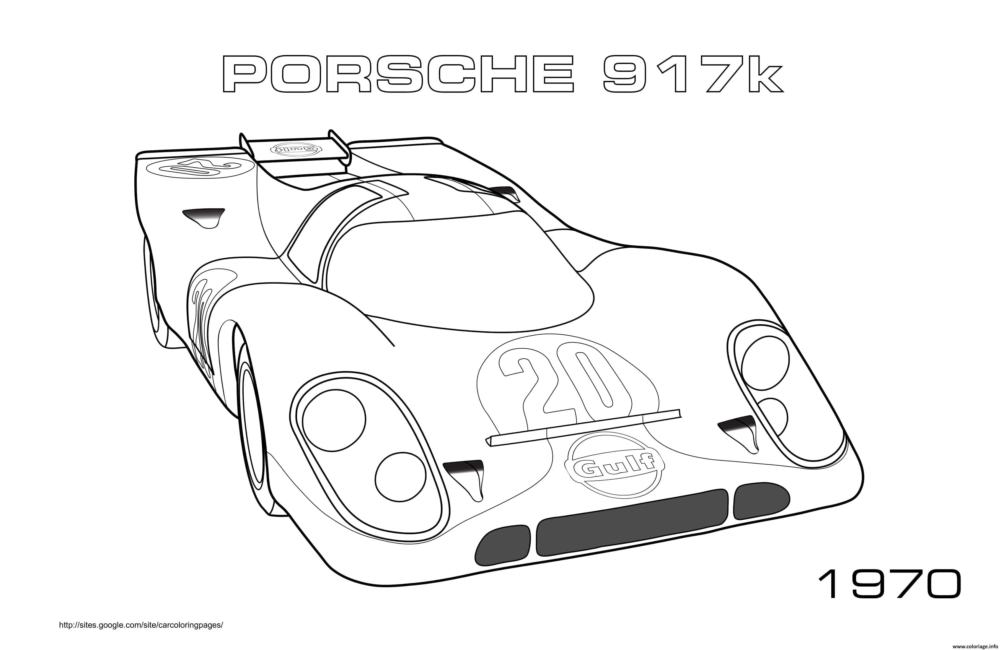 Dessin Porche 917k 1970 Coloriage Gratuit à Imprimer