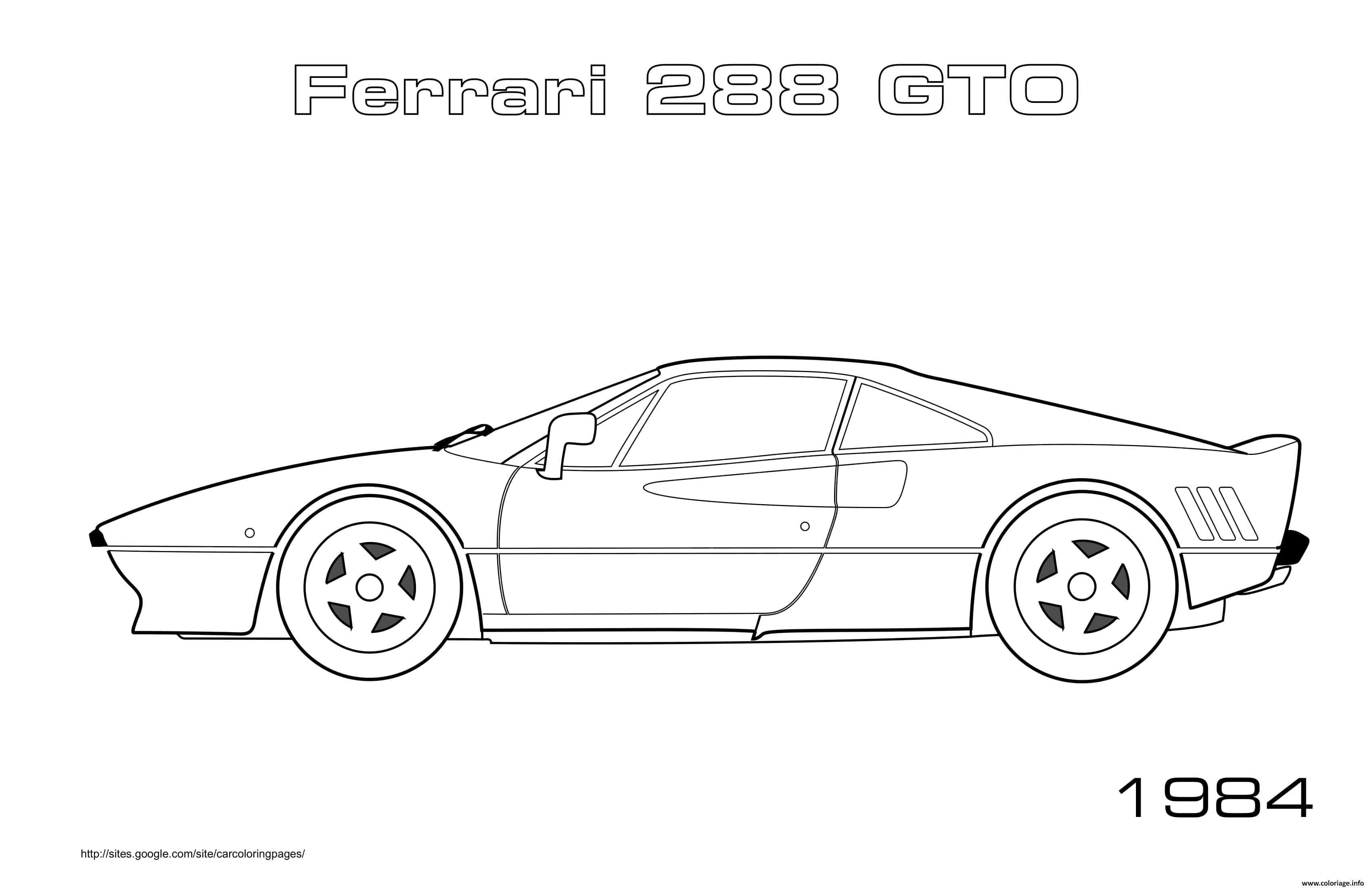 Dessin Ferrari 288 Gto 1984 Coloriage Gratuit à Imprimer