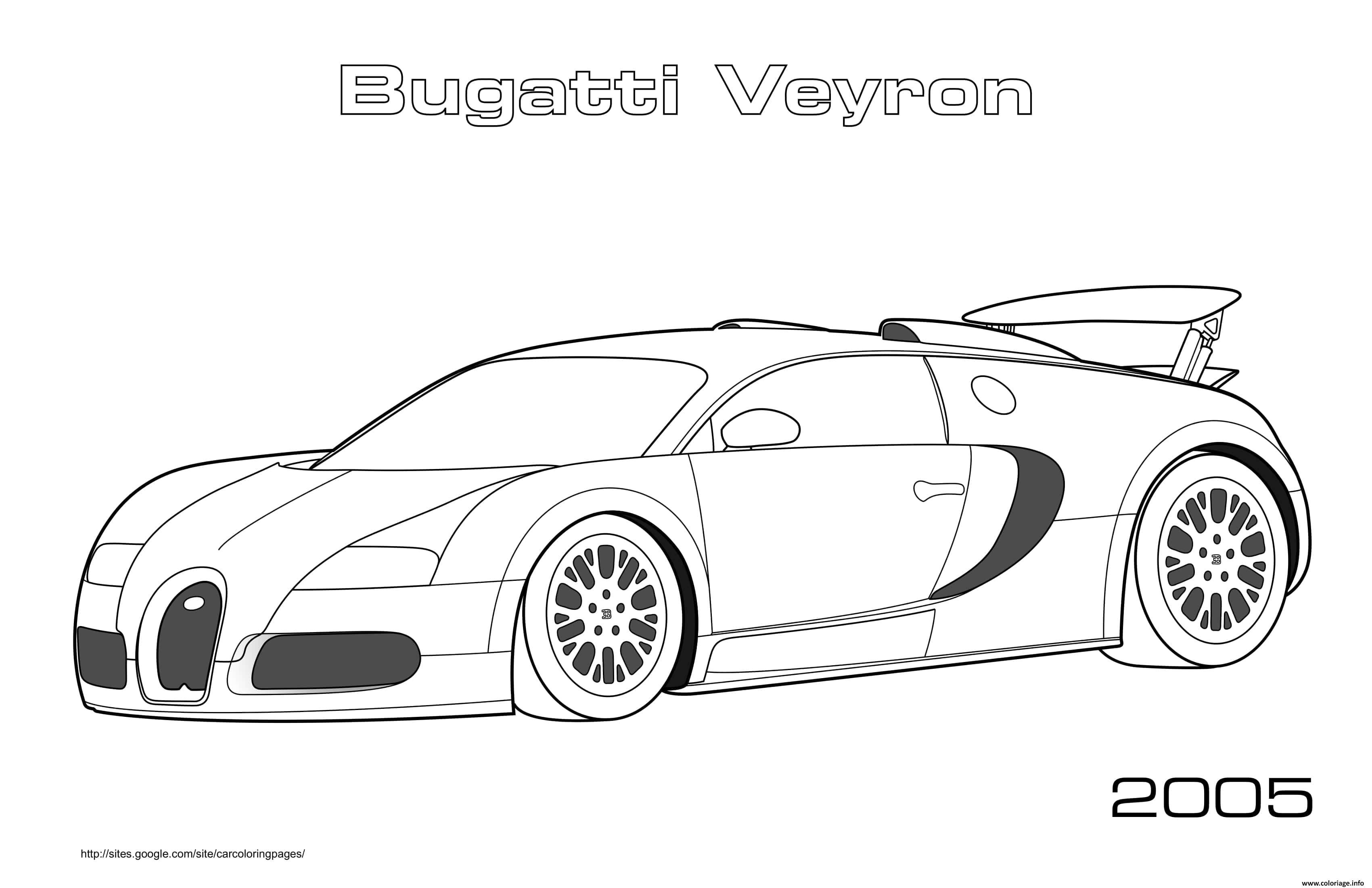 Dessin Bugatti Veyron 2005 Coloriage Gratuit à Imprimer
