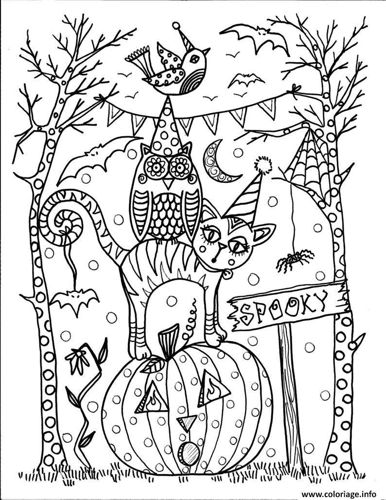 Dessin halloween 31 octobre hibou chat citrouille Coloriage Gratuit à Imprimer