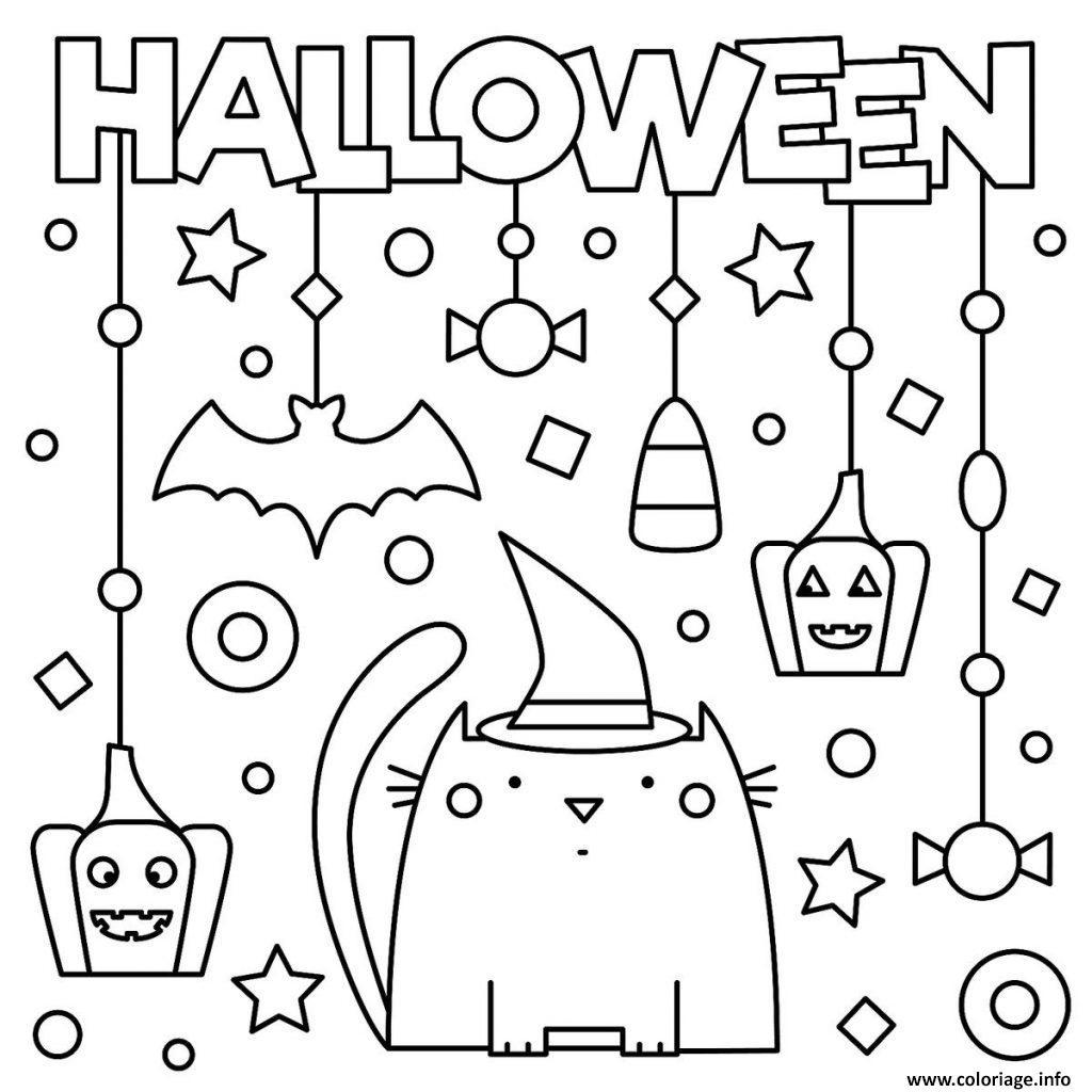 Dessin joyeuse halloween avec chat citrouille et decorations Coloriage Gratuit à Imprimer
