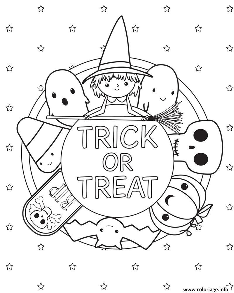 Dessin trick or treat halloween kids Coloriage Gratuit à Imprimer