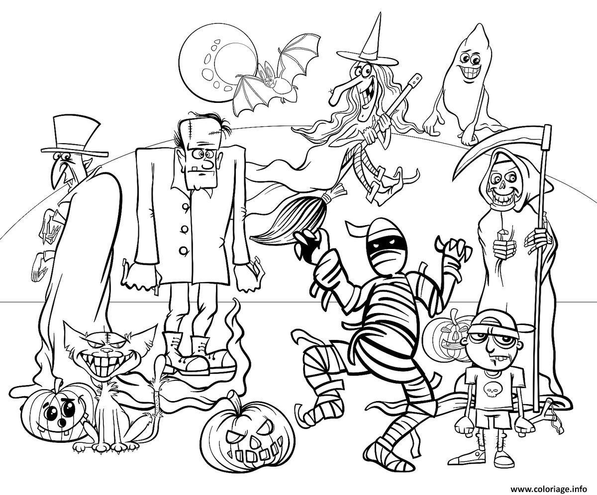Dessin les personnages de halloween Coloriage Gratuit à Imprimer