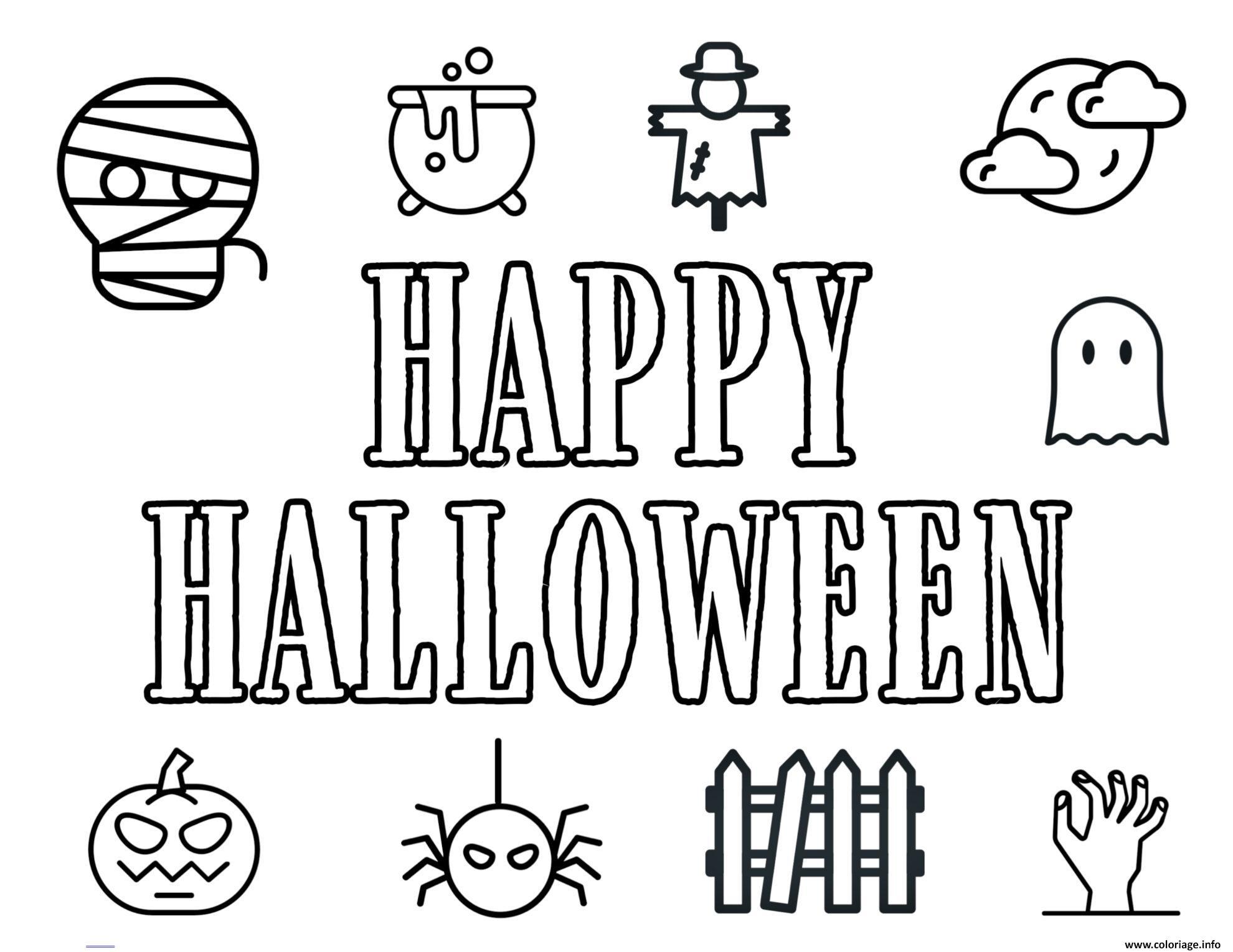 Dessin Joyeux Halloween.Coloriage Happy Halloween Icons Funs Dessin Halloween A Imprimer