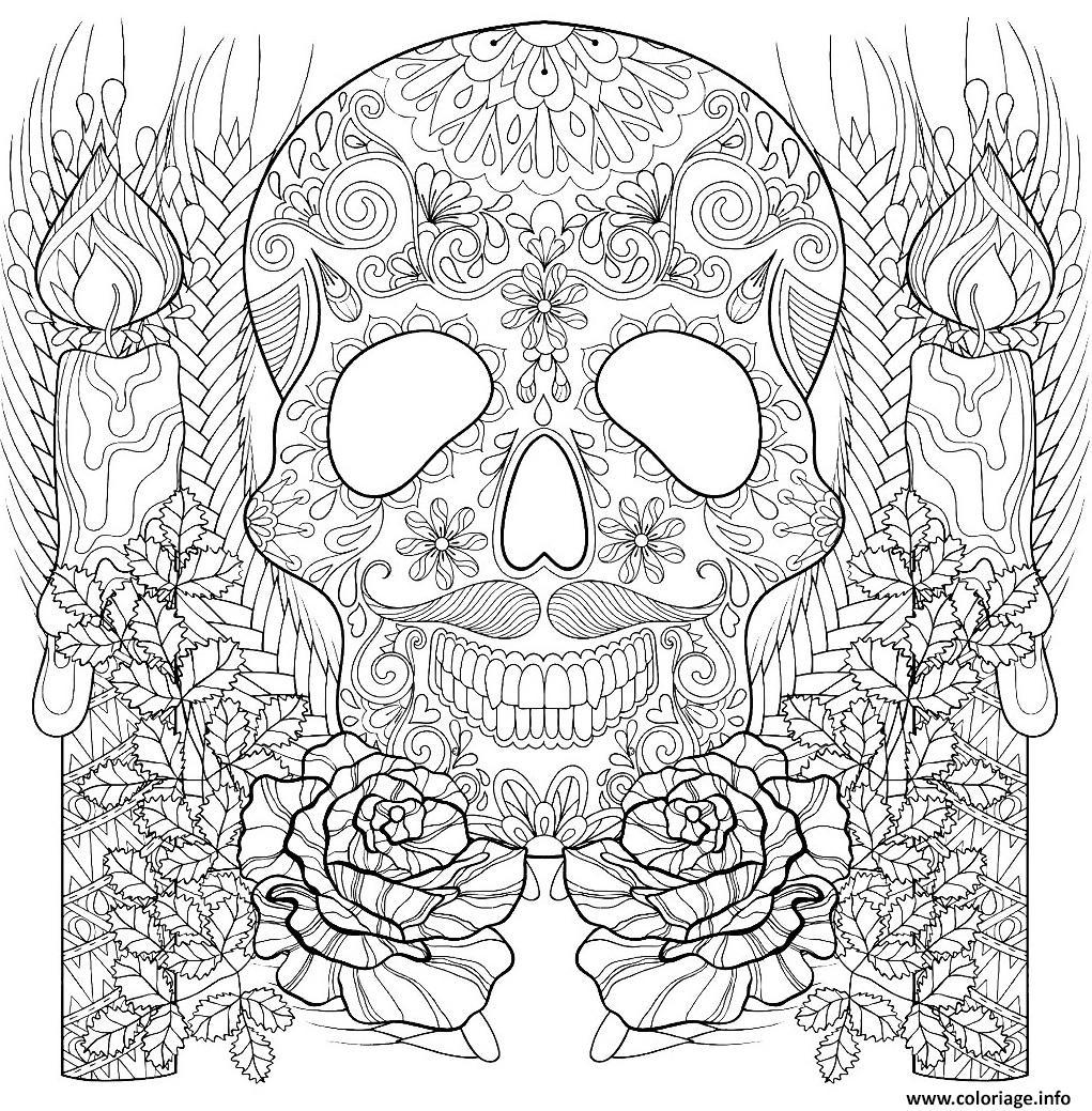 Dessin squelette et chandelles halloween adulte Coloriage Gratuit à Imprimer