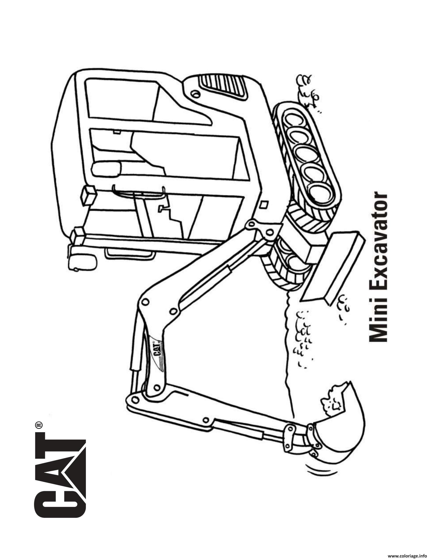 Coloriage Mini Excavator Camion Cat Dessin Camion à imprimer