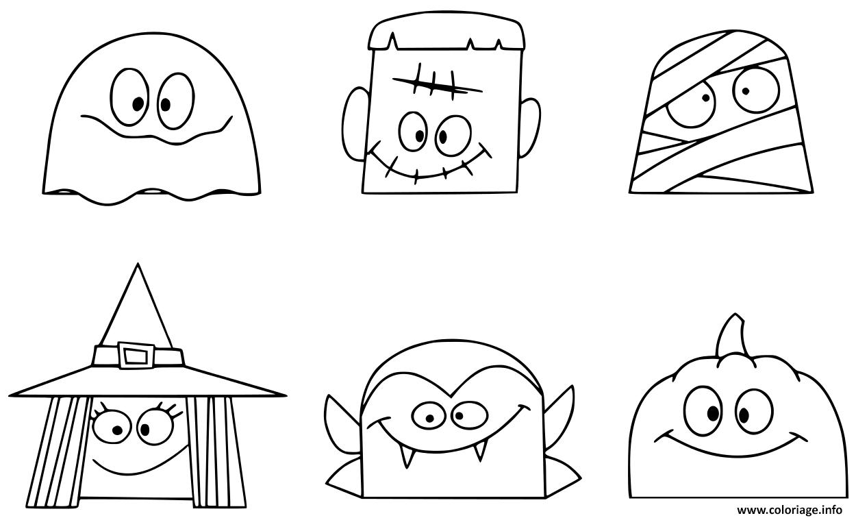 Dessin personnages de halloween amusants tetes Coloriage Gratuit à Imprimer