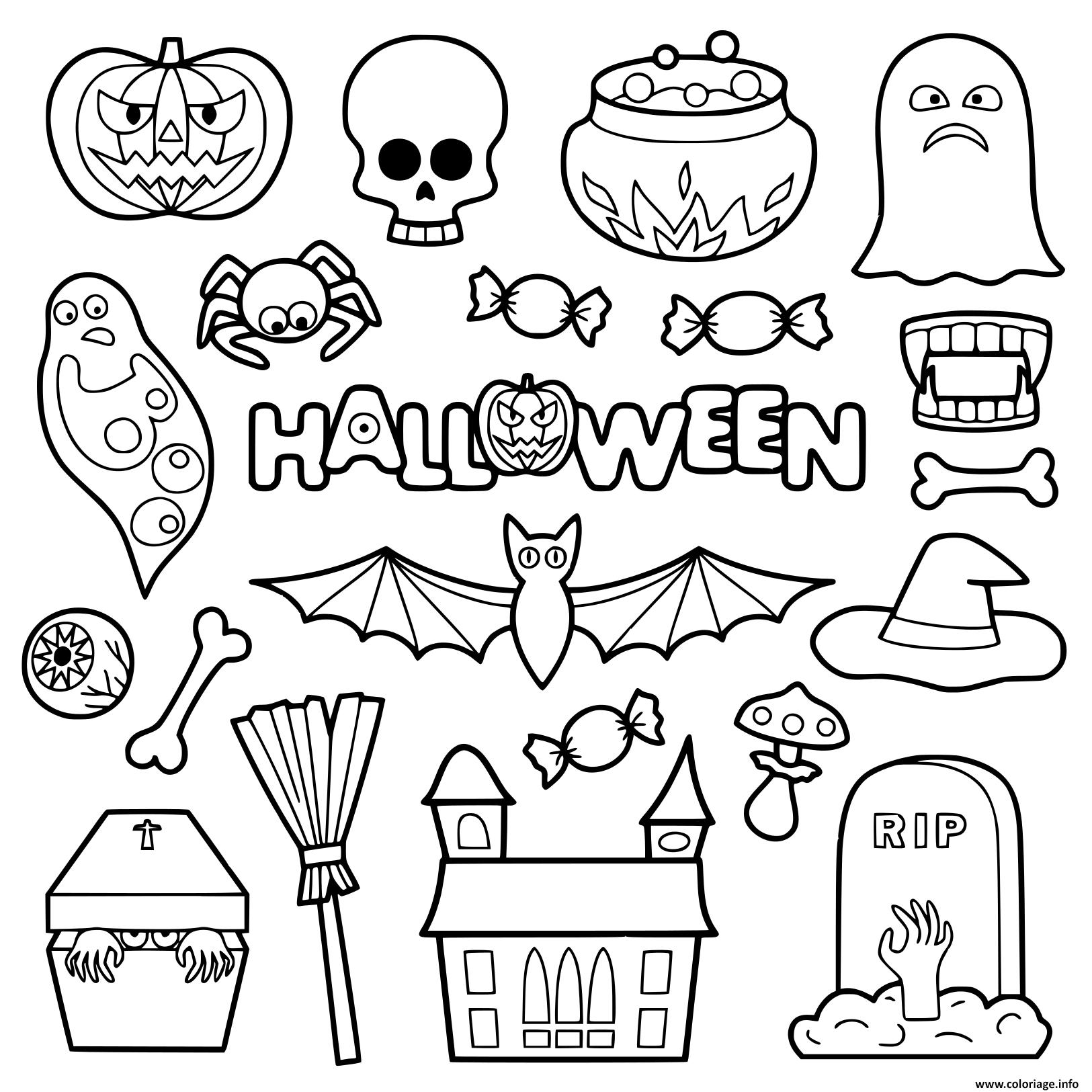 Dessin halloween objets pour enfants Coloriage Gratuit à Imprimer