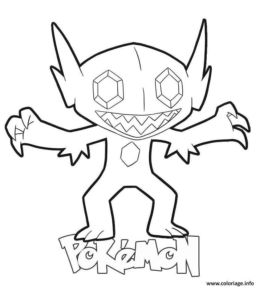 Dessin Sableye Pokemon Coloriage Gratuit à Imprimer