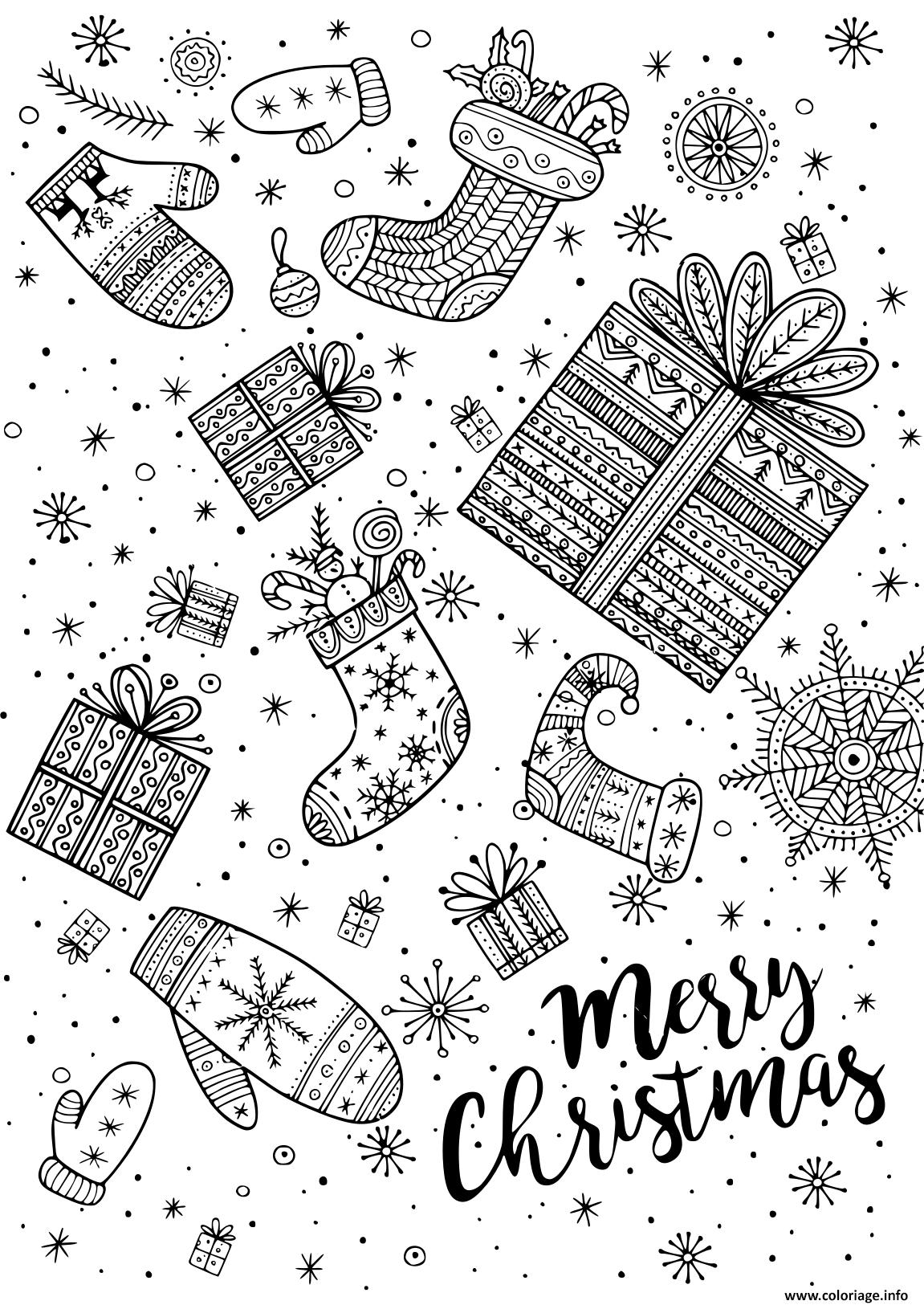 Coloriage Joyeux Noel Cadeaux Et Bas De Noel Adulte Dessin